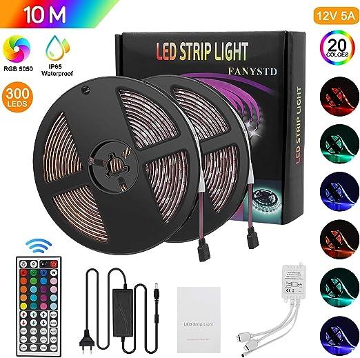 KIT 10 METRI RADIOCOMANDO 1 ZONA RGB RGB+W 600 LED 5050 STRIP STRISCIA REMOTE