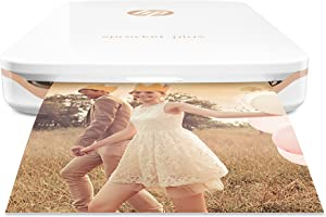"HP Sprocket Plus Instant Photo Printer, Print Larger Photos on 2.3 x 3.4"" Sticky-Backed Paper - White"