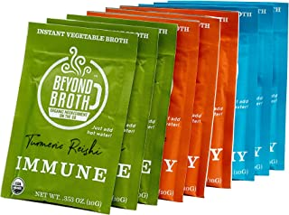 product image for BEYOND BROTH Organic Vegan Vegetable Instant Sipping Broth | Keto, Gluten Free, Whole 30, and non GMO | (Variety Pack) (9 Pack)