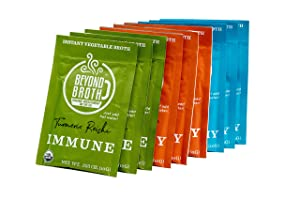 BEYOND BROTH Organic Vegan Vegetable Instant Sipping Broth   Keto, Gluten Free, Whole 30, and non GMO   (Variety Pack) (9 Pack)