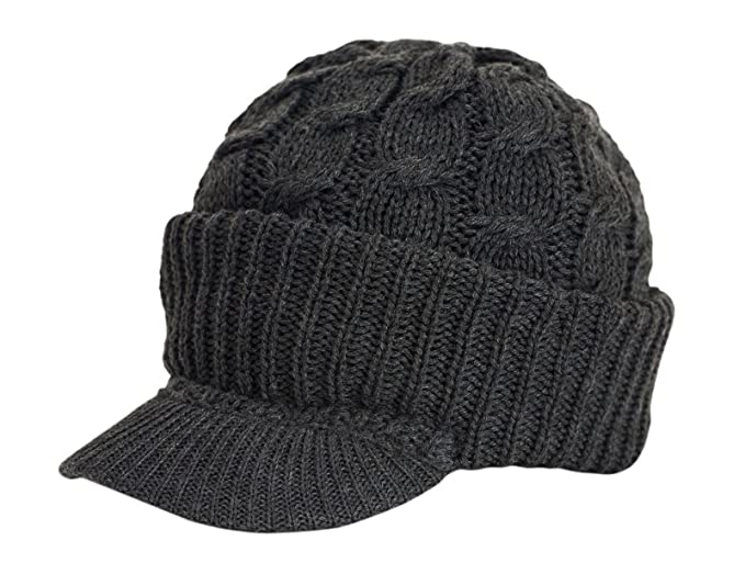 c66885f4c2502 Urbanhatshop Newsboy Cable Knitted Visor Beanie Bill Winter Warm Hat All  Colors (Charcoal)