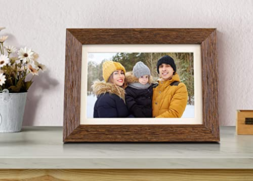 Aluratek 8 WiFi Distressed Wood Smart Digital Photo Frame with Touchscreen Display and 16GB Built-in Memory ASHDPF08F