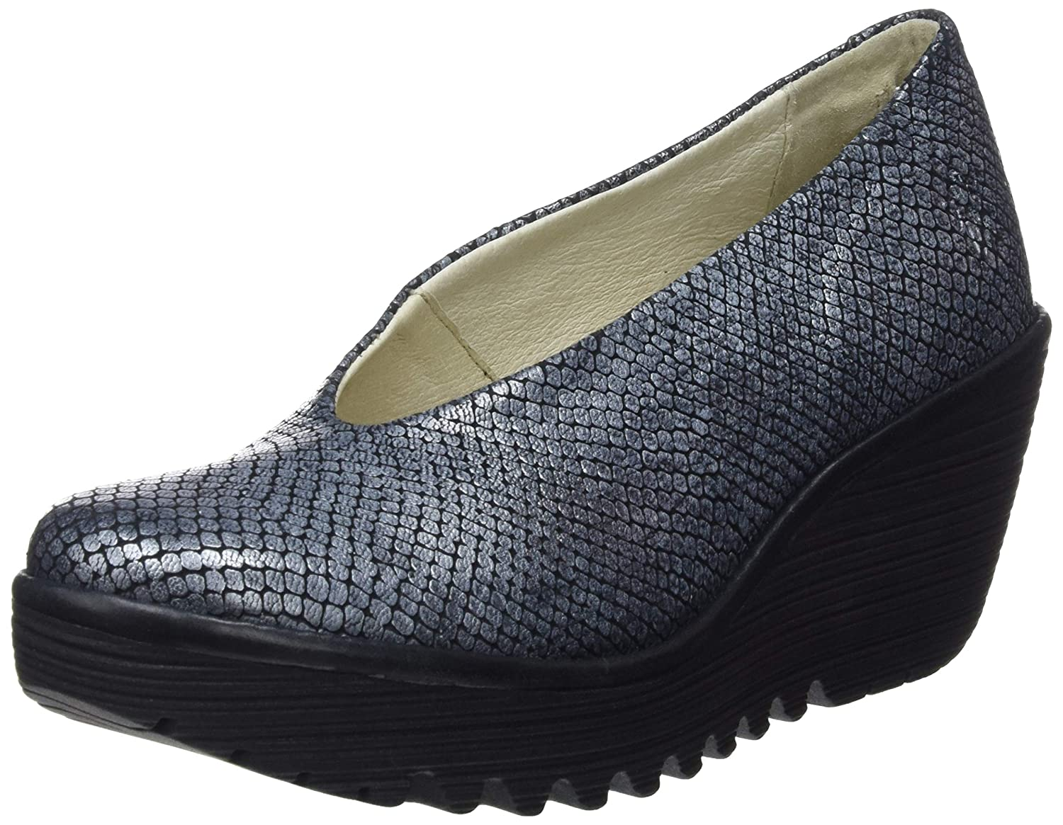 Black Black Fly London Womens Yaz Palm Rug Office Leather Work Wedge Closed Toe shoes