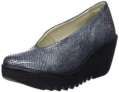 95ea15b5741bf FLY London Womens Yaz Palm Rug Office Leather Work Wedge Closed Toe Shoe -  Black/