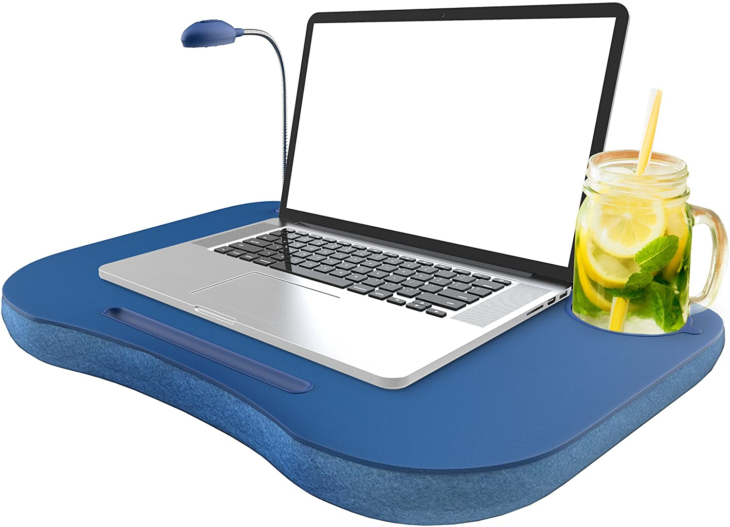 Laptop Lap Desk, Portable with Foam Filled Fleece Cushion, LED Desk Light, Cup Holder-for Homework, Drawing, Reading and More by Lavish Home (Blue): Computers & Accessories