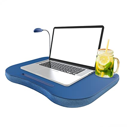 Phenomenal Laptop Lap Desk Portable With Foam Filled Fleece Cushion Led Desk Light Cup Holder For Homework Drawing Reading And More By Lavish Home Blue Download Free Architecture Designs Scobabritishbridgeorg