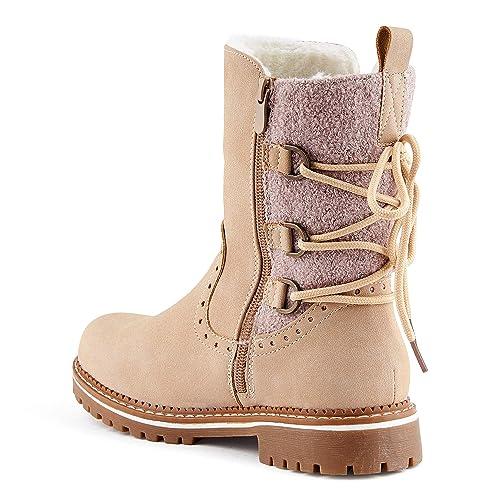 5c74490c4a11cb Fusskleidung Damen Schnür Boots Warm Gefüttert Stiefel Stiefeletten Beige  EU 36