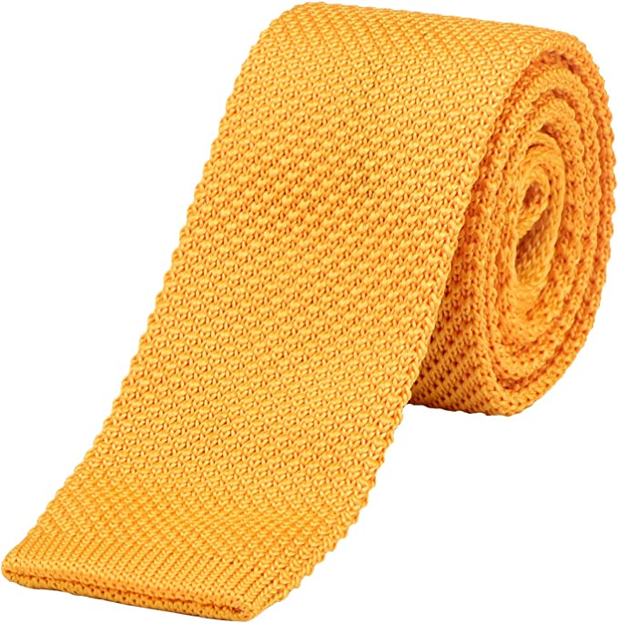 DonDon corbata de punto estrecha de color - amarillo: Amazon.es ...