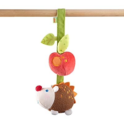 HABA Dangling Figure Hedgehog with Rattling and Crinkle Noises - Machine Washable Attaches to Crib: Toys & Games