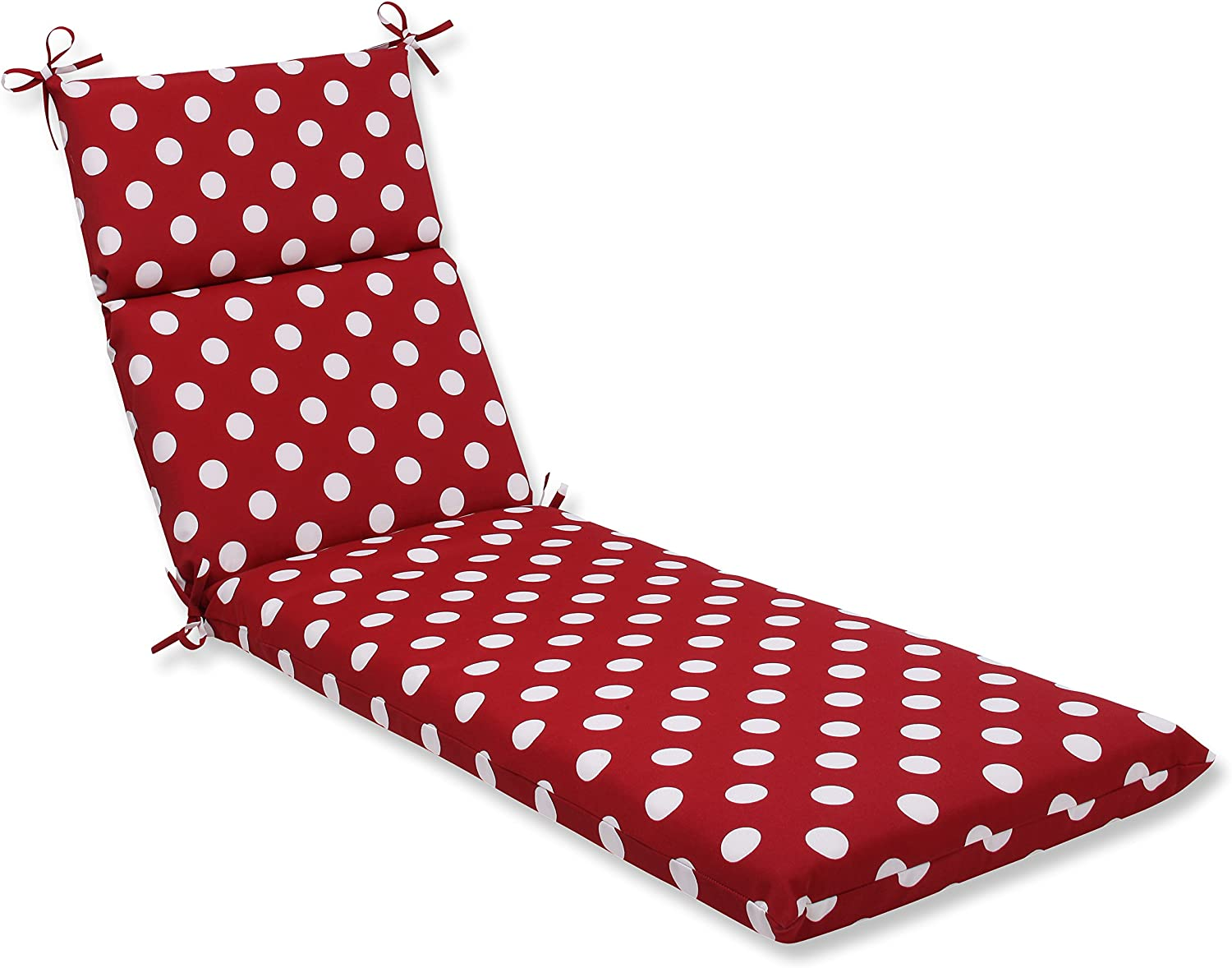 Pillow Perfect Indoor/Outdoor Polka Dot Chaise Lounge Cushion, 72.5 in. L X 21 in. W X 3 in. D, Red/White