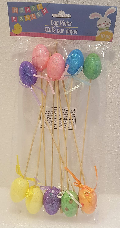 Easter Egg Picks Oeufs sur Pique 10pc Glitter Colored Eggs Easter Basket Party Decor