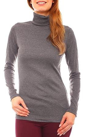Damen Basic Feinripp Jersey Pullover Shirt Langam mit Rollkragen uni