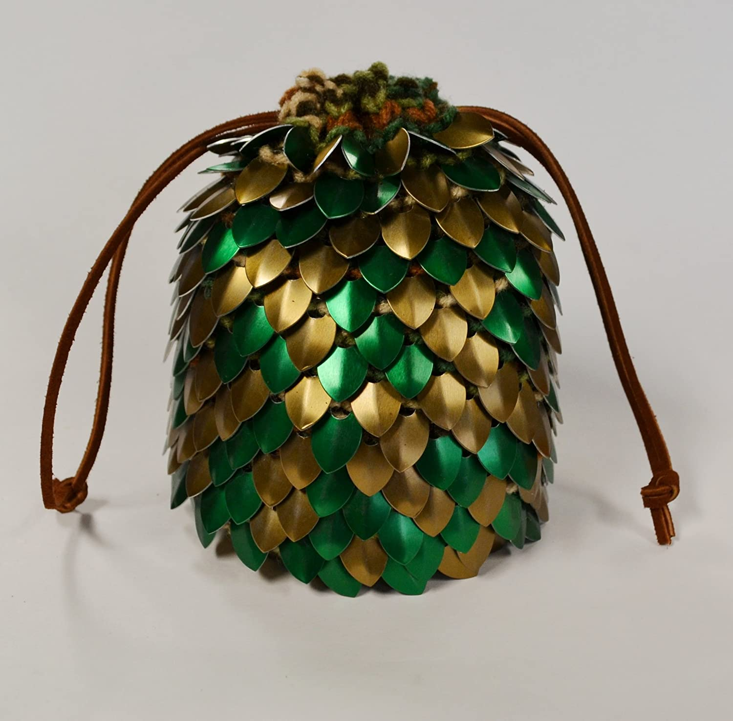 Bronze Forest Dice Bag of Holding in knitted Dragonhide Armor Extra Large