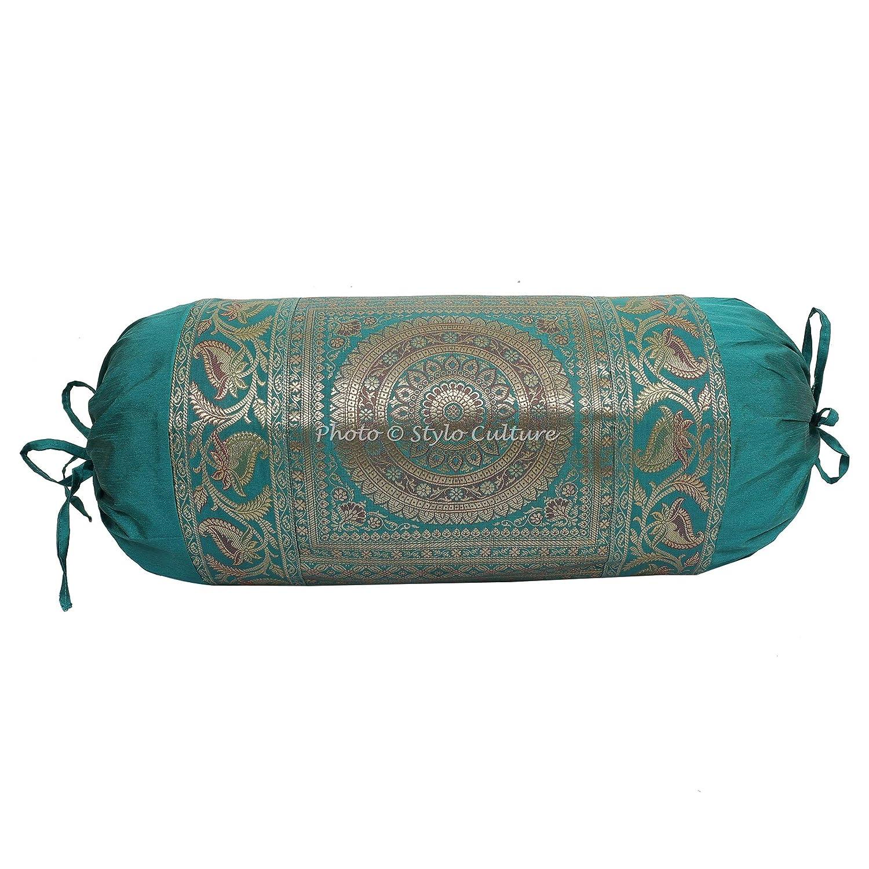 Stylo Culture Polidupion Tradicional Cilíndrica Fundas De Almohadas 70x40 Yoga Decorativo Fundas para Almohada Bolster Covers Verde Mandala Tejido De ...