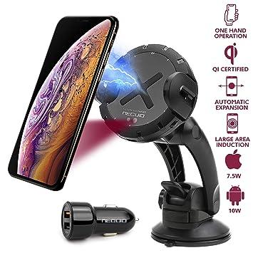 Soporte Cargador Inalámbrico Rápido para Coche para Salpicadero, Rejilla de Ventilación o Parabrisas, iPhone XS Max/X/8 Plus; Samsung Galaxy Note 9, ...