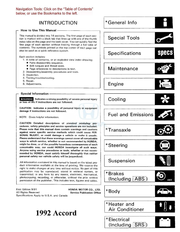 Amazon.com: bishko automotive literature 1992 Honda Accord Shop Service  Repair Manual Book Engine Drivetrain Wiring OEM: Automotive