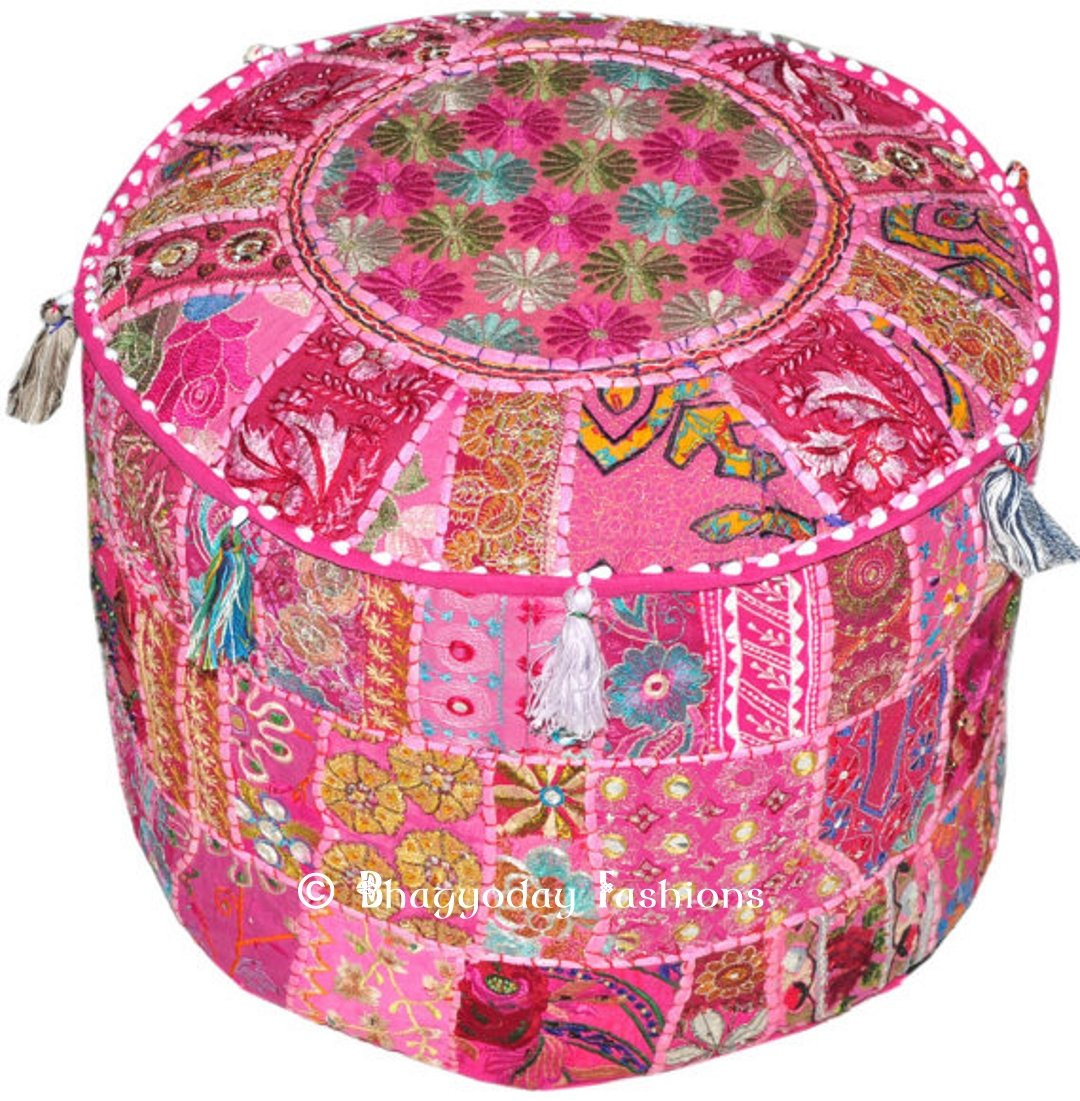 Indian Traditional Home Decorative Multi Ottoman Handmade and Patchwork Foot Stool Floor Cushion14x22 Inch. Traditional India pouf002