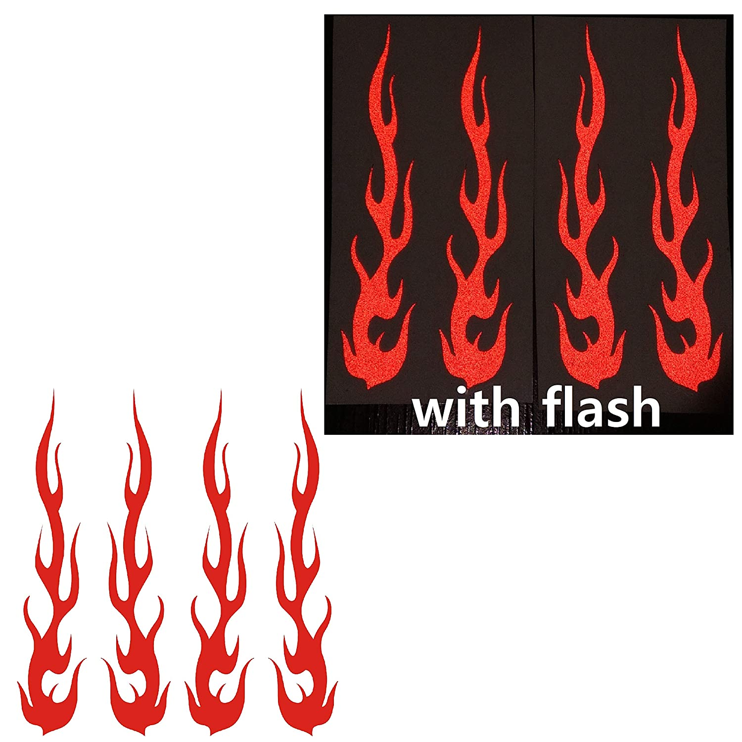 "Red Hot Rod Fire Tribal Flame Ignite Flames Retro 3M Reflective Reflector Decal Sticker 1""x5"" Flash Night Vinyl PVC For Sport Motorbike Bike Motorcycle Bicycle Helmet Racing Car Door Window Tailgate Truck Trunk Side Rear Laptop Notebook Mac Decal Safety"