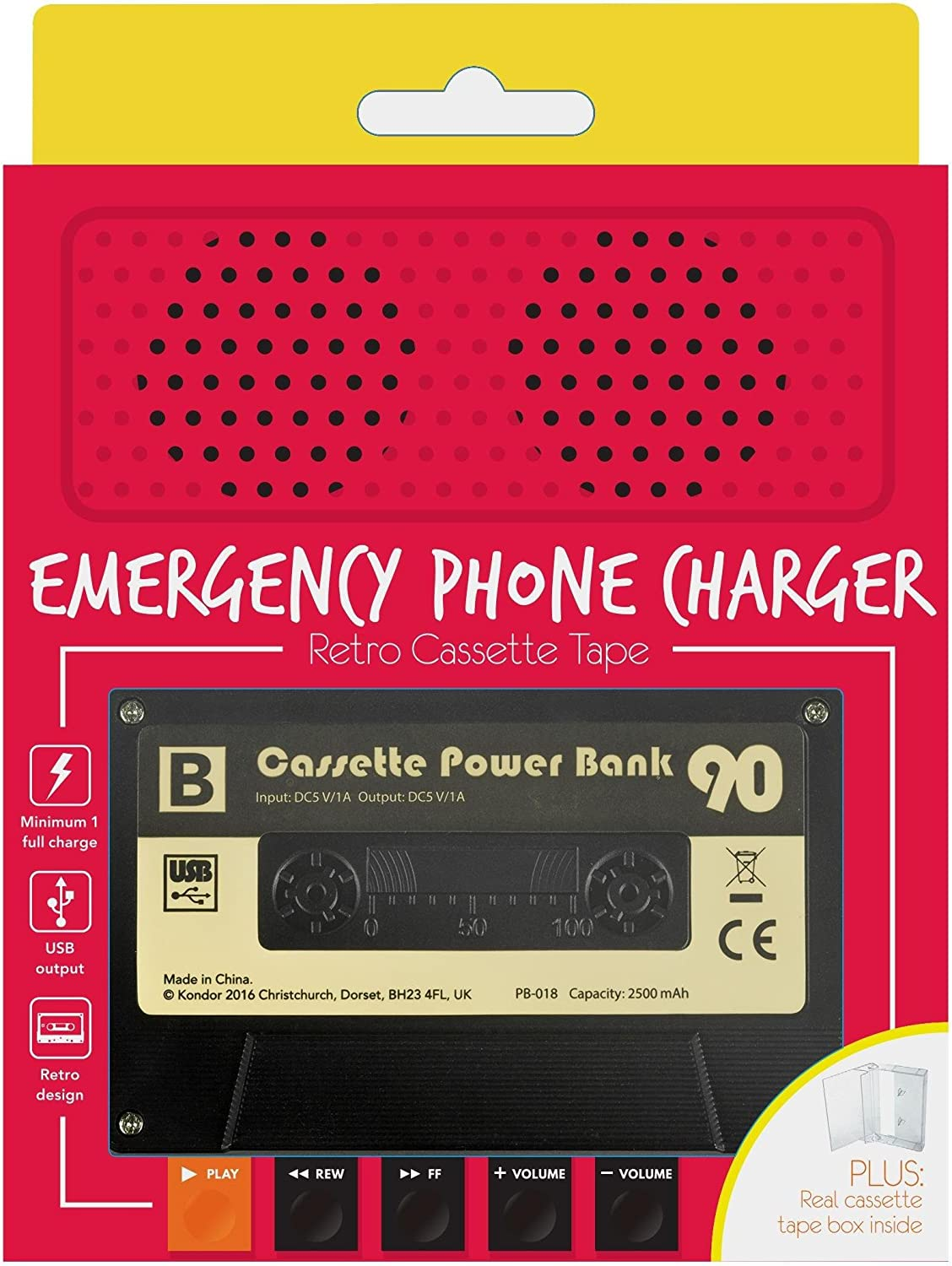 Gifting Cassette Tape Emergency Phone Charger Powerbank Black