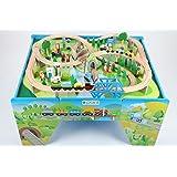 point-kids Holzeisenbahn Set Tisch + 100 Teile Zug Komplett Set Holz