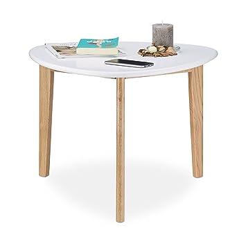Relaxdays Couchtisch, Nierentisch, Tischbeine aus Eichen-Holz, weiße ...
