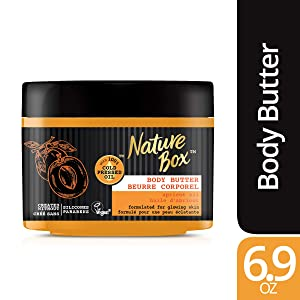 Nature Box Body Butter - for Glowing Skin, with 100% Cold Pressed Apricot Oil, 6.9 ounce