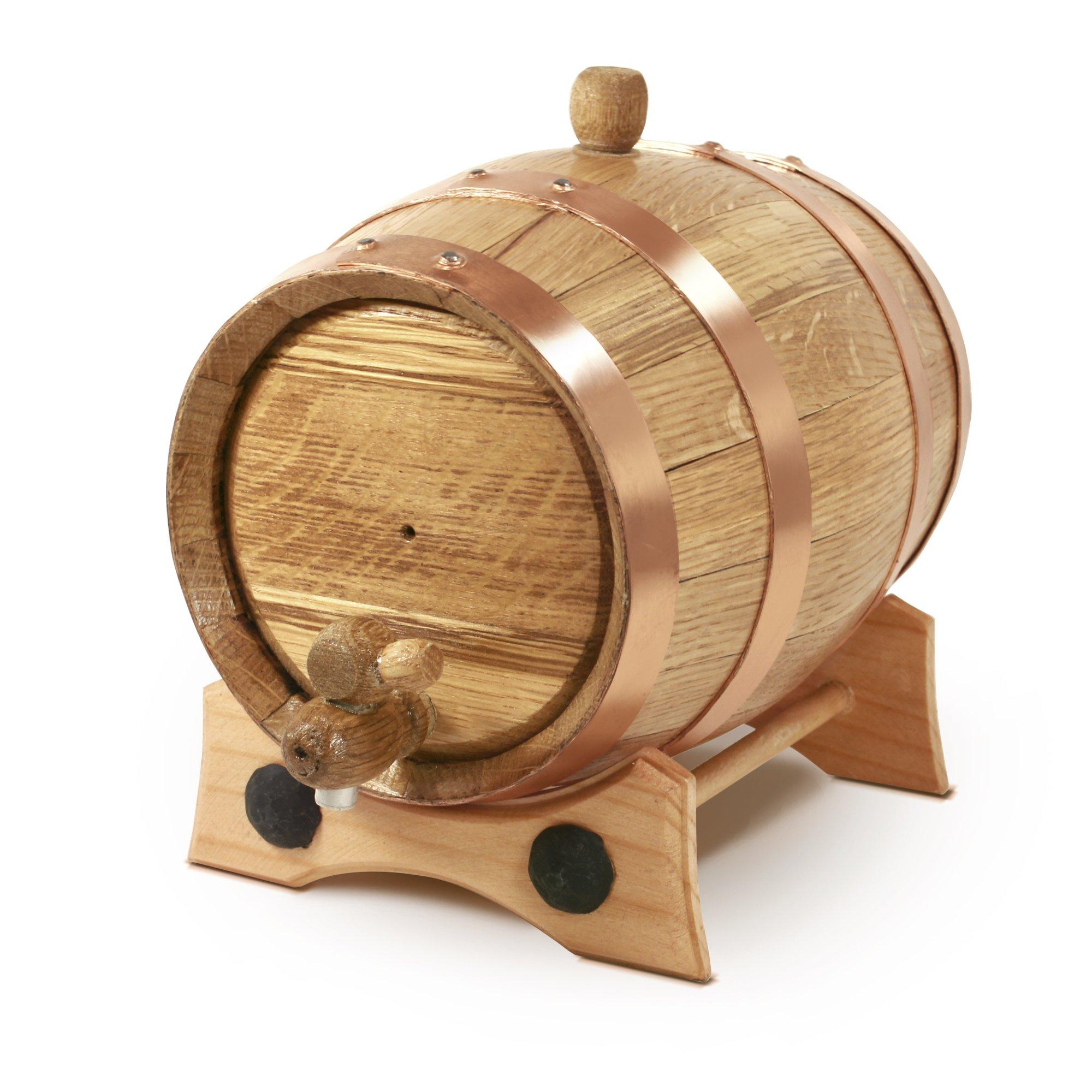 1 Liter Whiskey Oak Barrel for Aging – Golden Oak Barrel with Copper Hoops – Aging and Recipes Digital Guide included