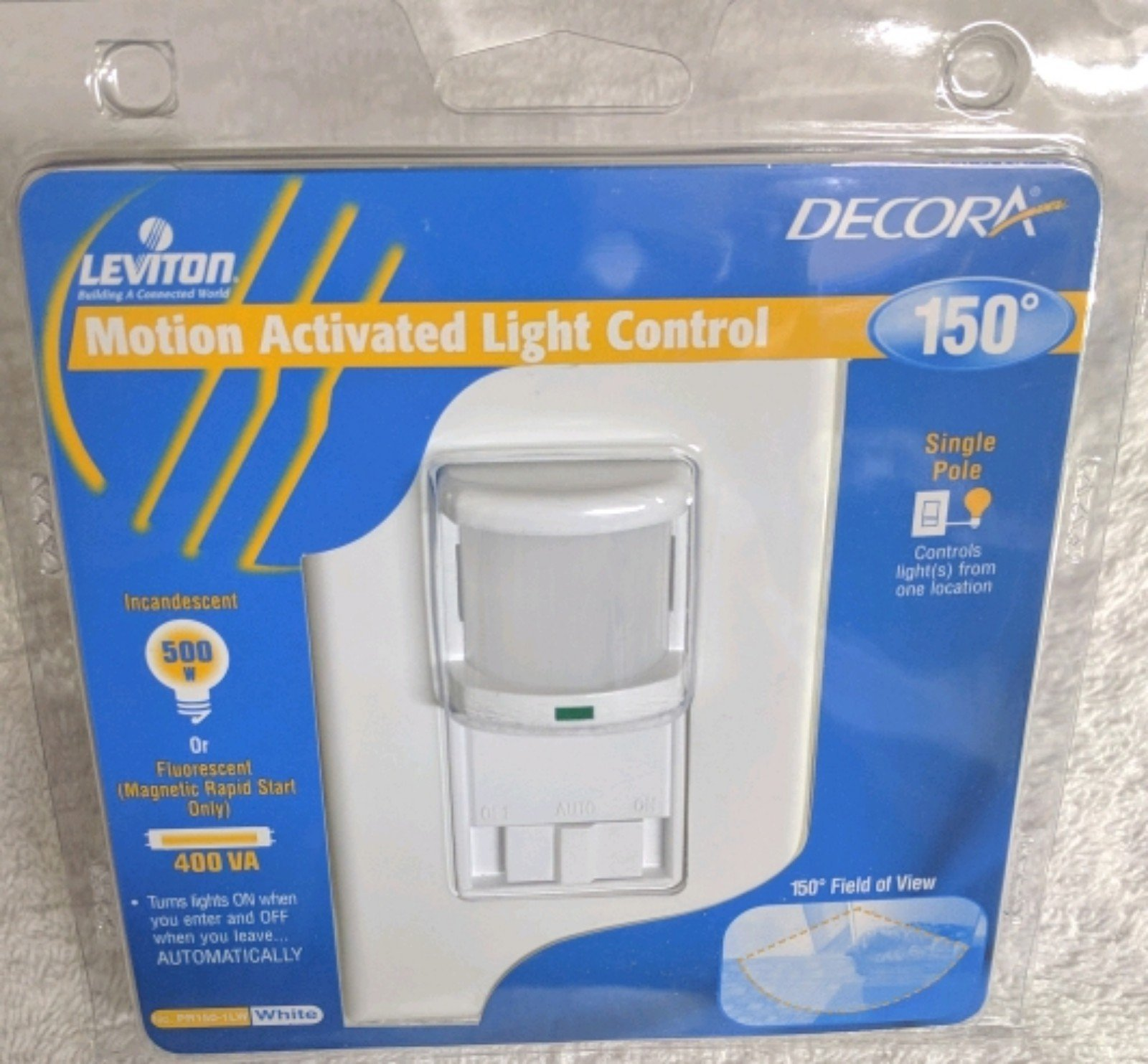 (Ship from USA) Leviton PR150-1LW 500W Single Pole 150 Degrees 350 sq. ft. Passive Infrared W /ITEM#H3NG UE-EW23D245228