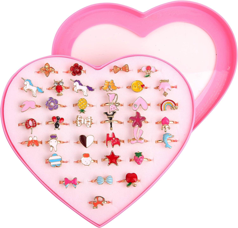 Anillos Niña Juguete, 36pcs Anillos Niñas Ajustables, Ajustables Anillos de Juguete para Niños, Princesa Joyas Anillos de Dedo con la Caja de Presentación de la Forma del Corazón