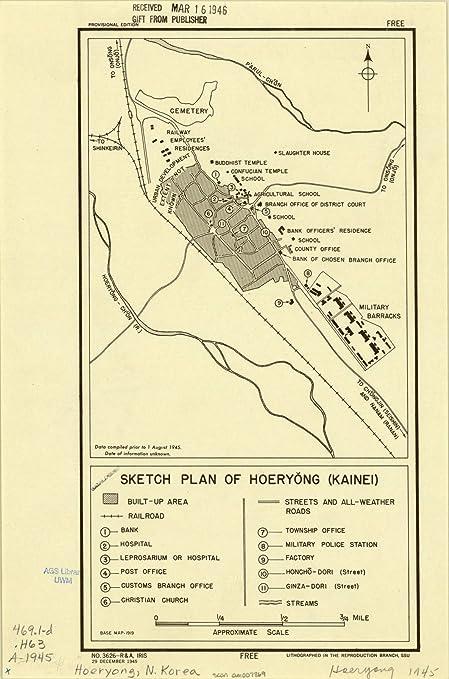 Amazon.com: Historic Map   yong, North Korea 1945 ... on capital of korea, n. korea, map from florida to korea, area of russia near korea, pyongyang korea, world map korea,