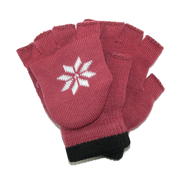 CTM Boys' Stretch Convertible Fingerless Winter Gloves Black GS-BG217-BLK