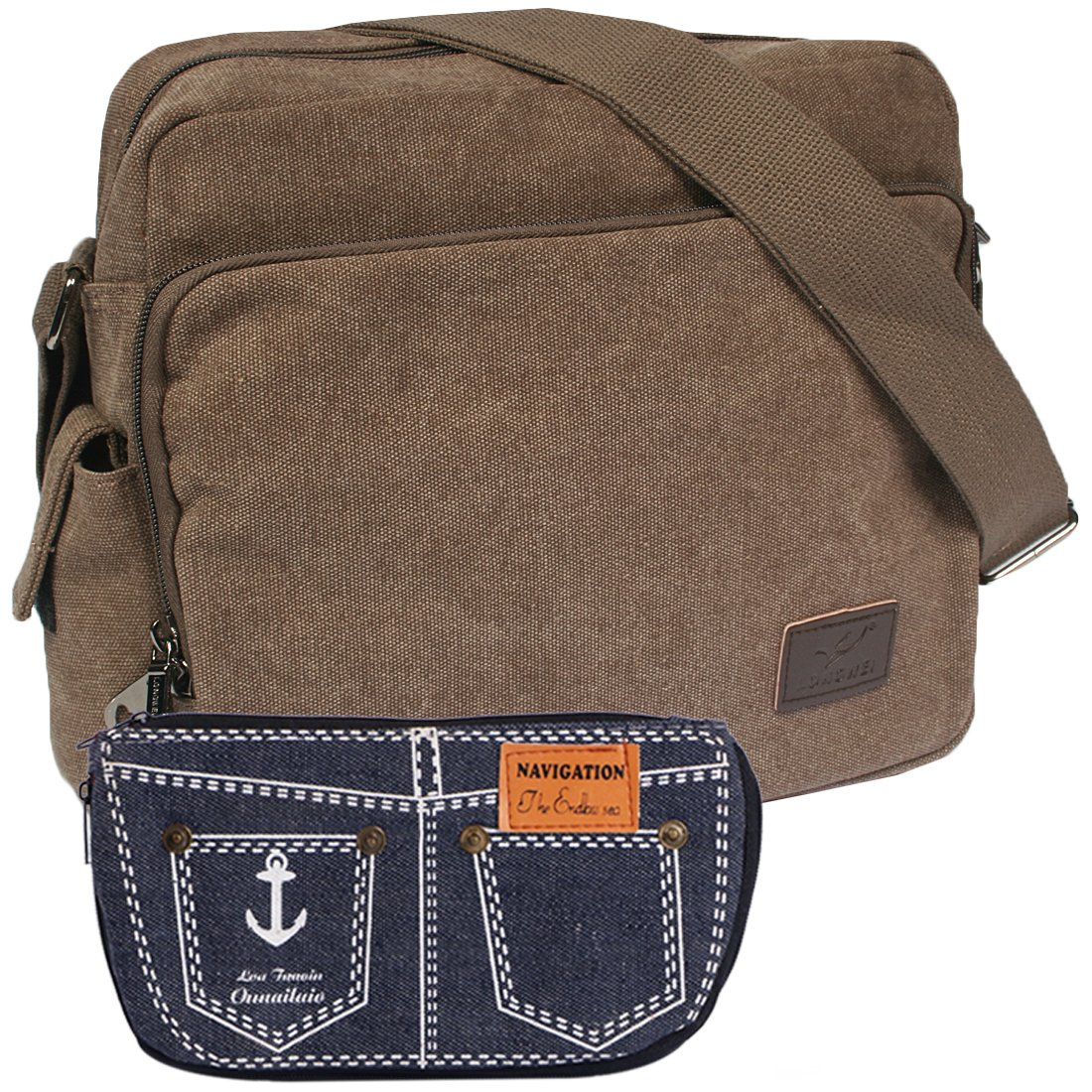 kilofly Multi Pockets Zipper Canvas Messenger Shoulder Bag + Handy Pouch Combo AMA403BLK