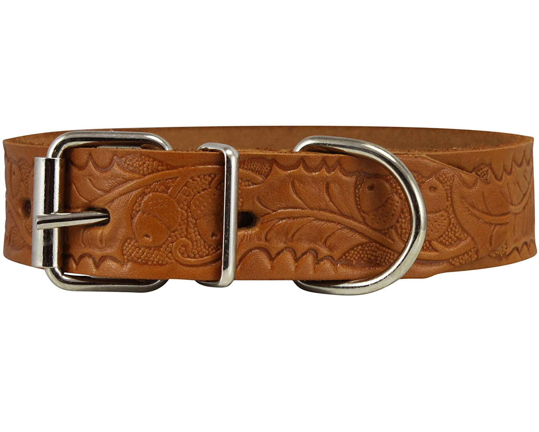 Neck Circumf  10.5\ Genuine Tooled Leather Dog Collar Floral Pattern Tan 3 Sizes (Neck Circumf  10.5 -14 ; 1  Wide)
