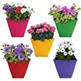 TrustBasket Small Table Top Planters/Pots (Red,Yellow, Green, Purple, Magenta) - Set of 5