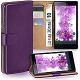 Sony Xperia Z Hülle Lila mit Karten-Fach [OneFlow 360° Book Klapp-Hülle] Handytasche Kunst-Leder Handyhülle für Sony Xperia Z Case Flip Cover Schutzhülle Tasche