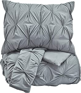 Ashley Furniture Signature Design - Rimy Comforter Set - King - Contains 3 Pieces - Quilted Pleats - Gray