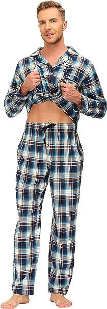 JINSHI Pijamas Hombre Algod/ón Conjunto de Pijama a Cuadros Largo Ropa de Dormir Casa Dos Piezas con Botones