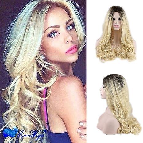 Eseewigs onda larga peluca sintética con dos tonos negro arraigada parte media peluca rubia resistente al