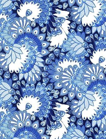 Blue - Yellow - White Decopatch Paper 388 Fancy Circles