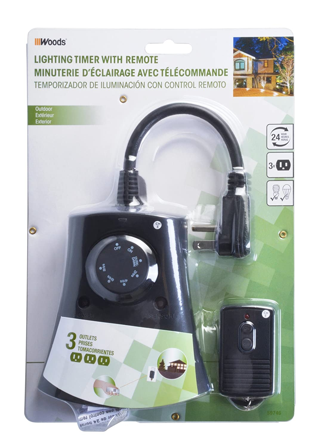 Woods 59746WD Outdoor 24 Hour Photoelectric Timer With Remote Control,  3 Outlet   Plug In Timer Switches   Amazon.com