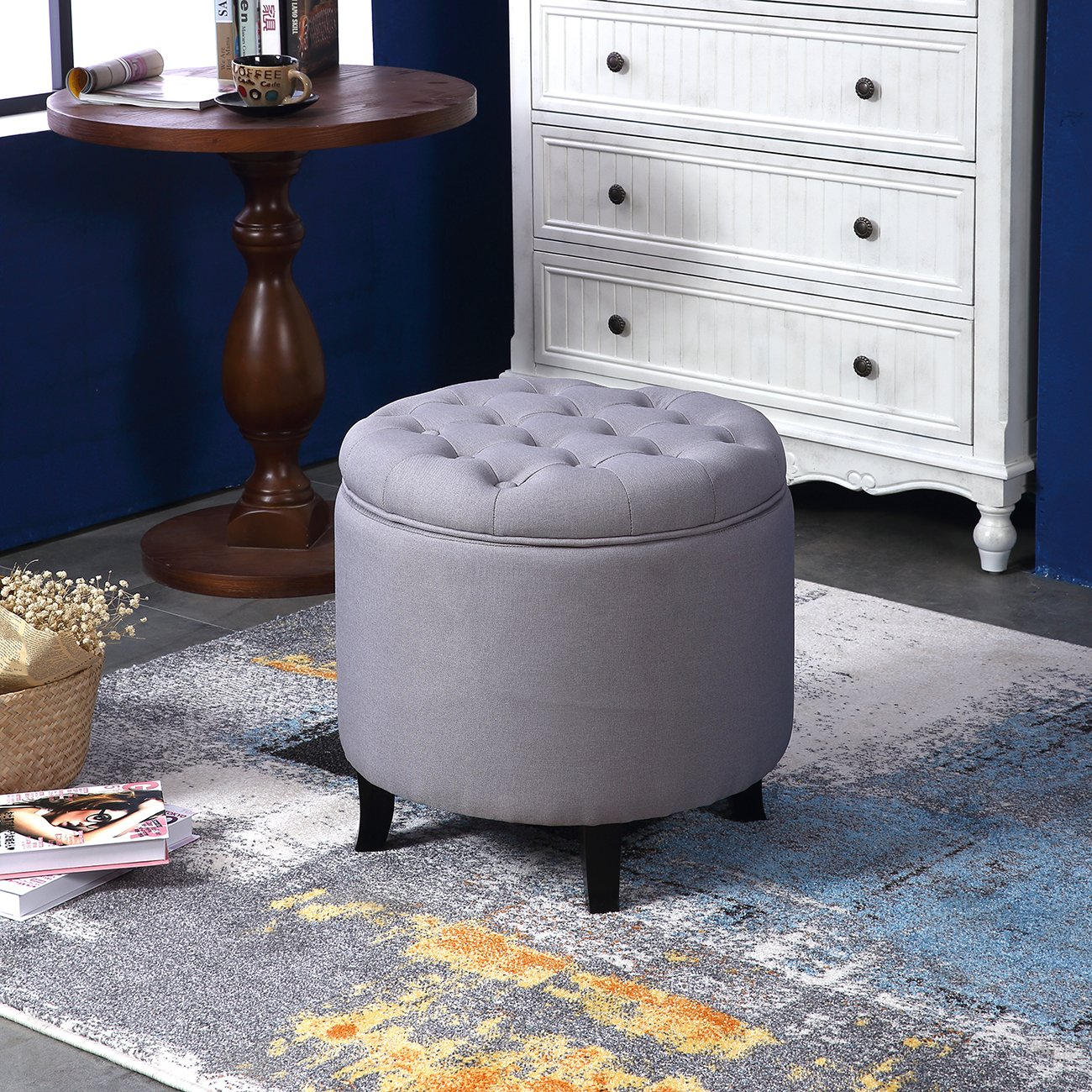 Amazon belleze nailhead round tufted storage ottoman large amazon belleze nailhead round tufted storage ottoman large footrest stool coffee table lift top gray kitchen dining geotapseo Images