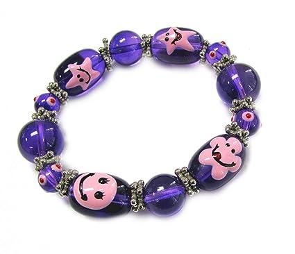 Linpeng Kids Flower Emoji Beads Stretch Bracelet Violet - No 1