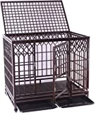 Heavy Duty Dog Cage Metal Pet Crate Kennel with Tray and Wheels