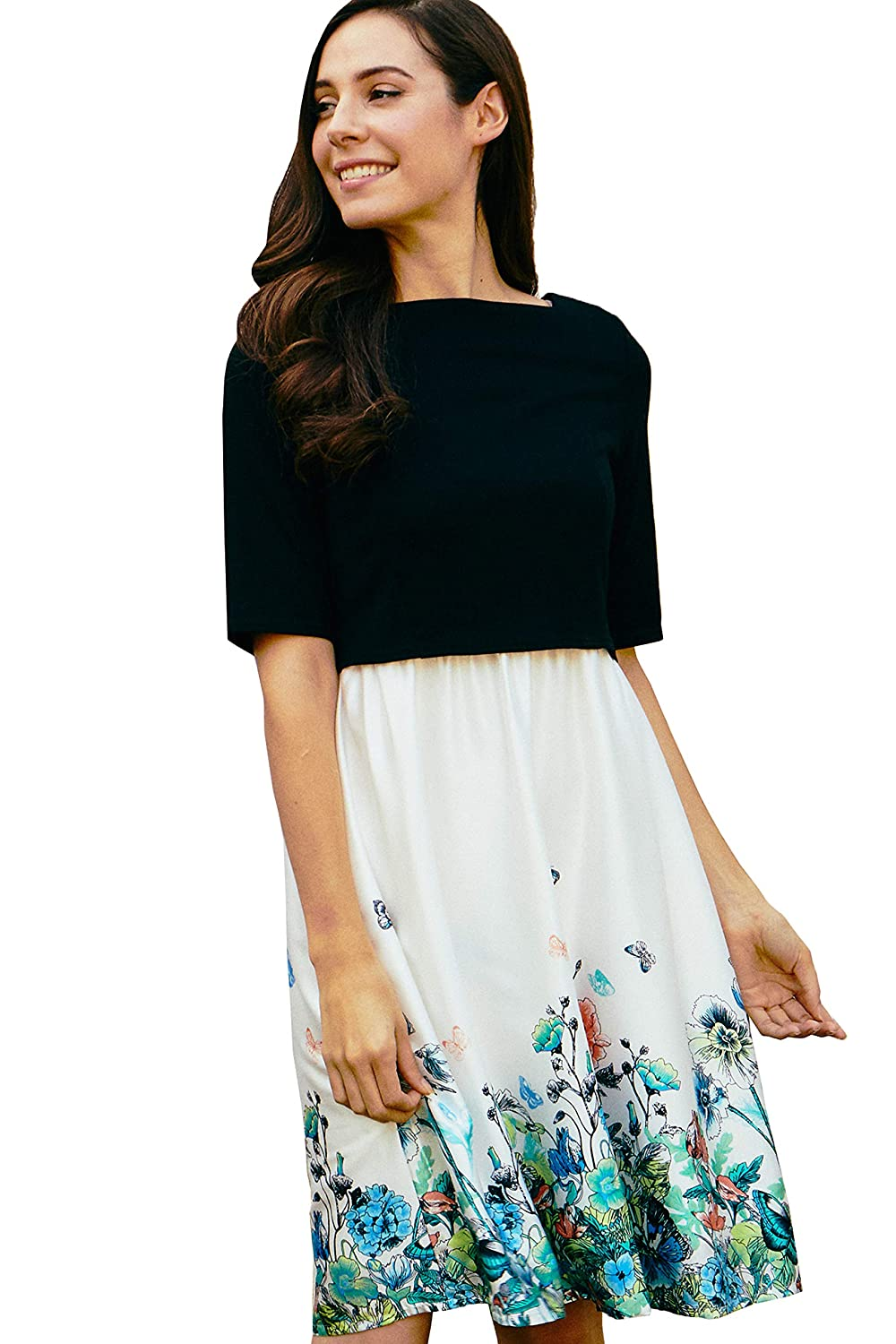 Black x White Sweet Mommy Maternity and Nursing Half Sleeve Top and Cami Floral Pattern Dress
