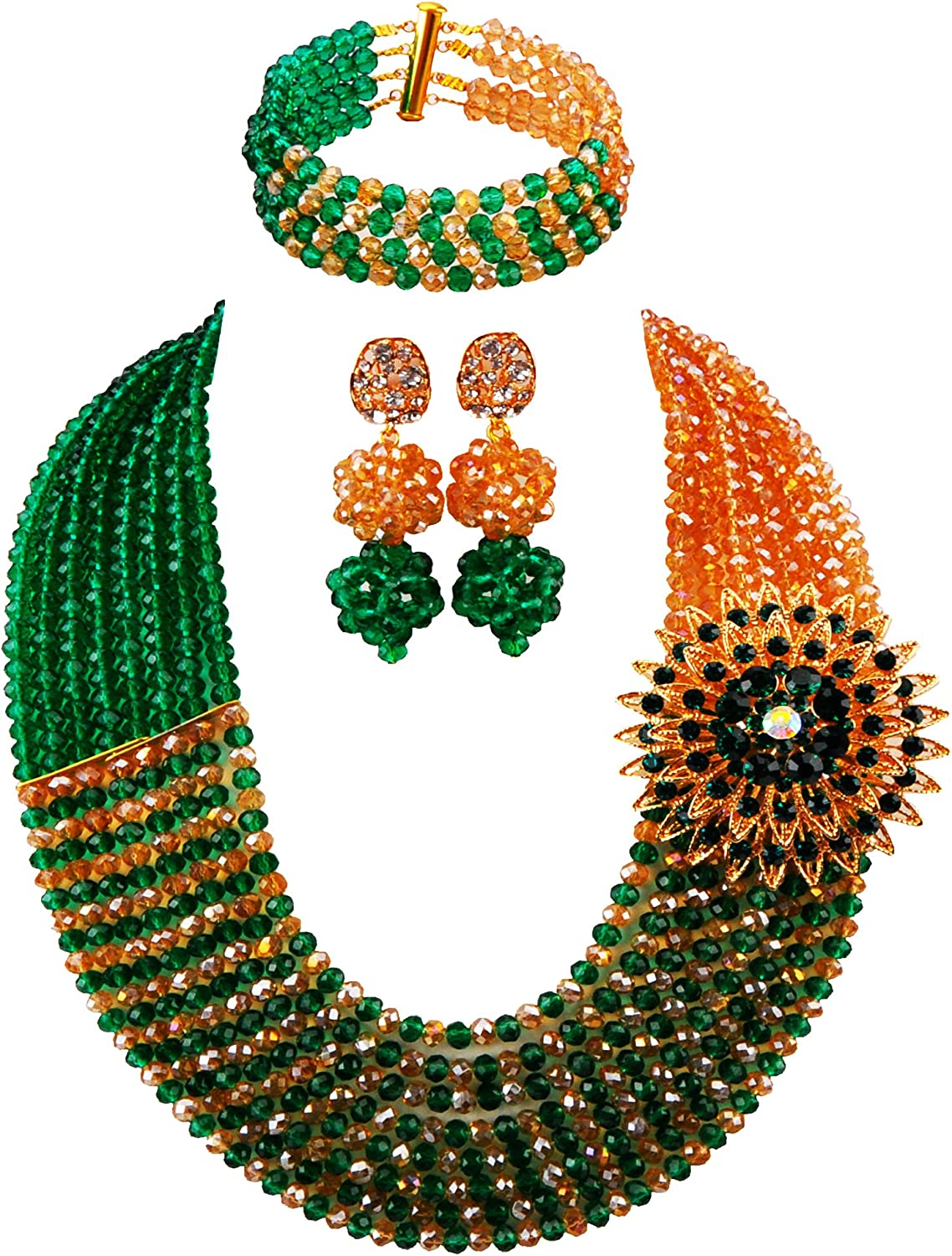 Africanbeads 6mm 8Rows African Crystal Beads Jewelry Statement Necklace Bridal Jewelry Set