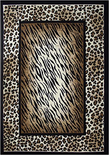 Rugs 4 Less Collection Leopard Tiger Skin Mix Animal Print Area Rug 8 X10