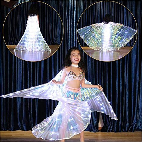 Green 360° Kids Fairy Butterfly LED Belly Dance Wings Light up Isis Wings