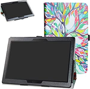 Lenovo Smart Tab M10 /P10 Case,Bige PU Leather Folio 2-Folding Stand Cover for 10.1
