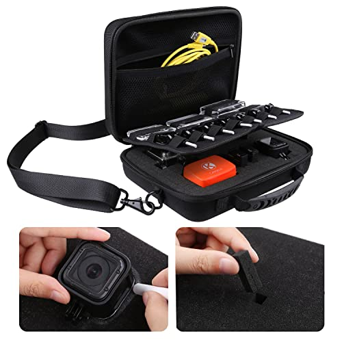 Deluxe Large Carrying Case for GoPro Hero 5, Black, Session, Hero 4, Session, Black, Silver, Hero+ LCD, 3+, 3, 2, 1 by CamKix with Shoulder Strap and Customizable Interior and Accessories