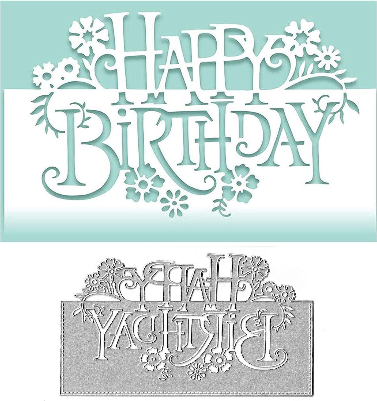 Happy Birthday Cutting Dies Metal Stencil for Diy Scrapbooking Handmade Cards